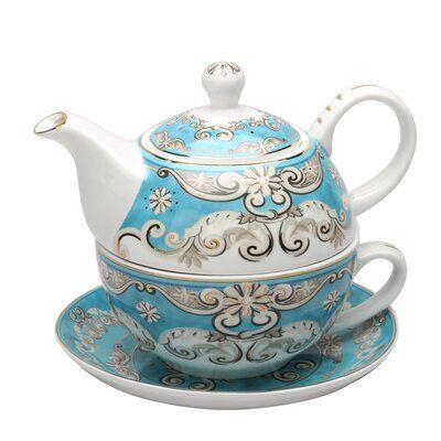 Ophelia & Co. Krish Tea for One 3 Piece Porcelain Tea Set | Wayfair