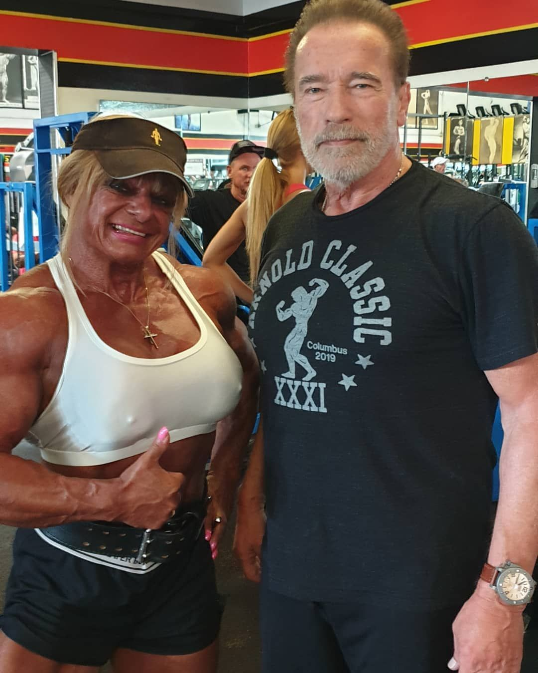 Arnold today at the Gold gym Venice I m Happy @evolutionproteine @sportproteinshop@gymstreetwazemmes...