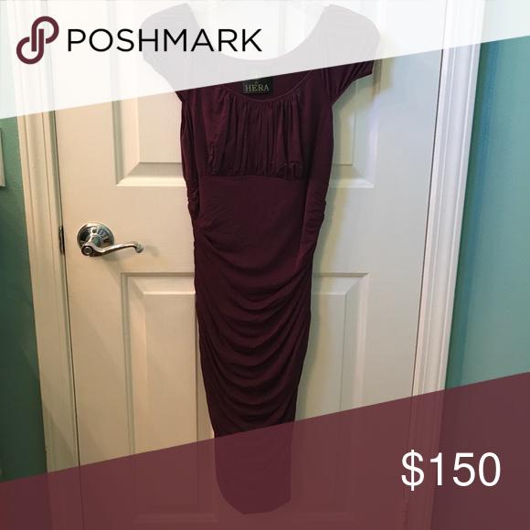 Plum dress Designer cinched nylon/ silk Dresses Midi