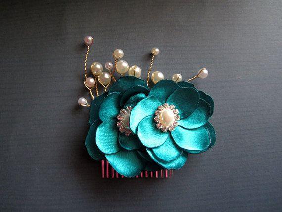 Luxe Teal Bridal Comb Peacock Wedding Handmade by amuandpri, $36.00
