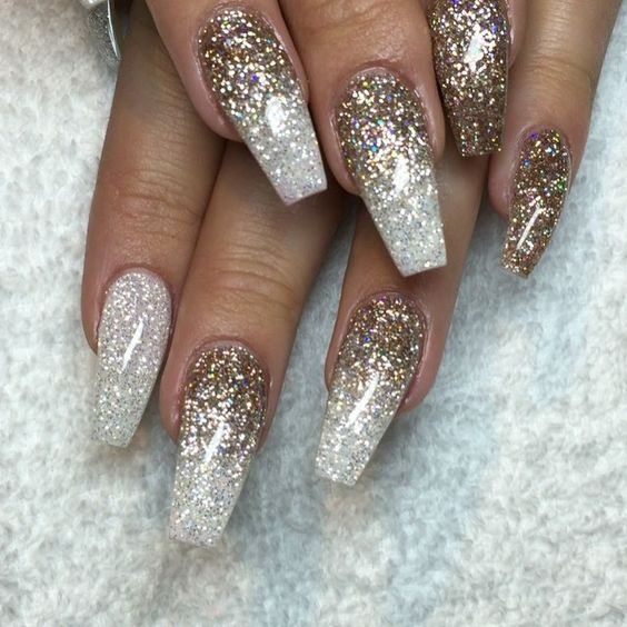 December = extra sparkly champagne glitter & diamond for my sweet… Gel Nail  DesignsGlitter ... - Winter Wonderland: Holiday Nails And A Merry Hair Style