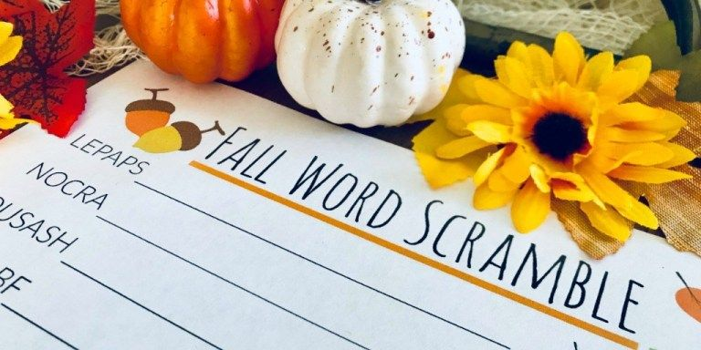 Fall Word Scramble for Kids | Free Printable Worksheet - Productive Pete