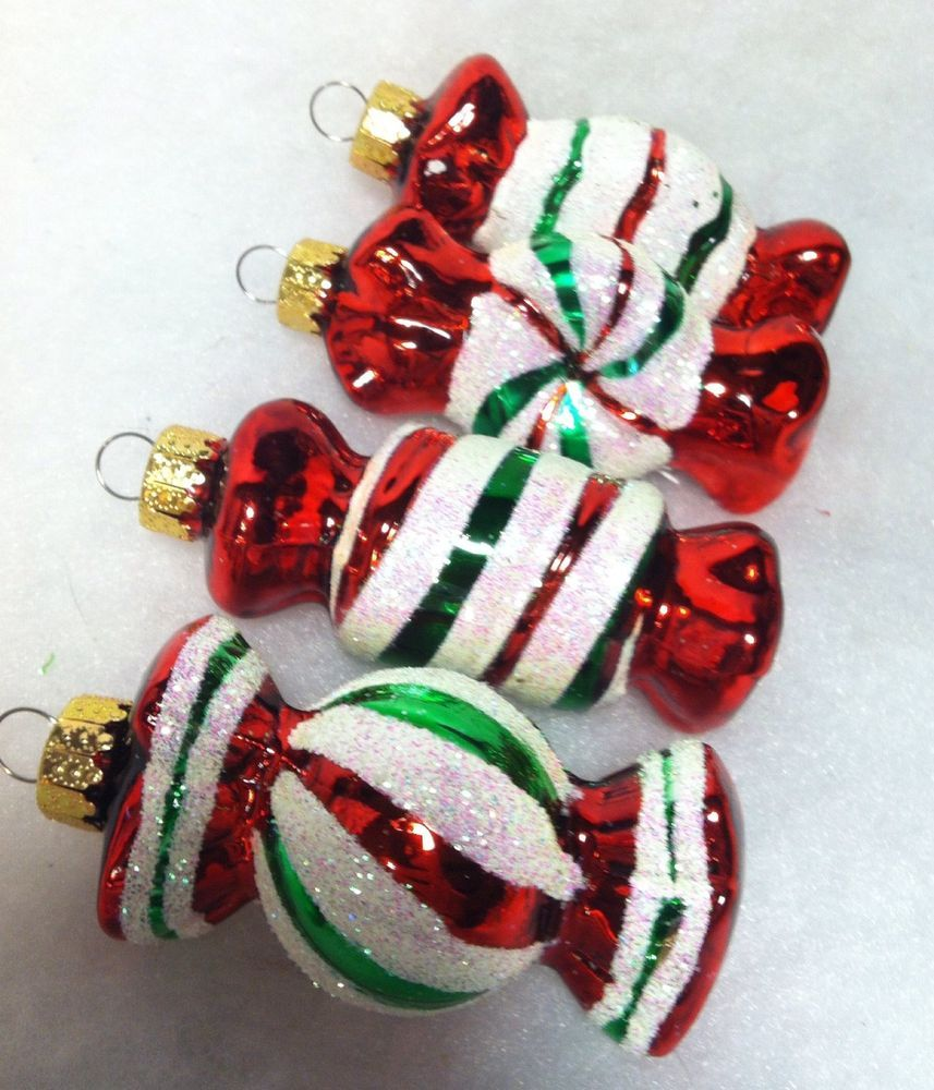 Glass candy cane ornaments - Peppermint Candy Christmas Tree Ornaments Mica Red Green White Glass
