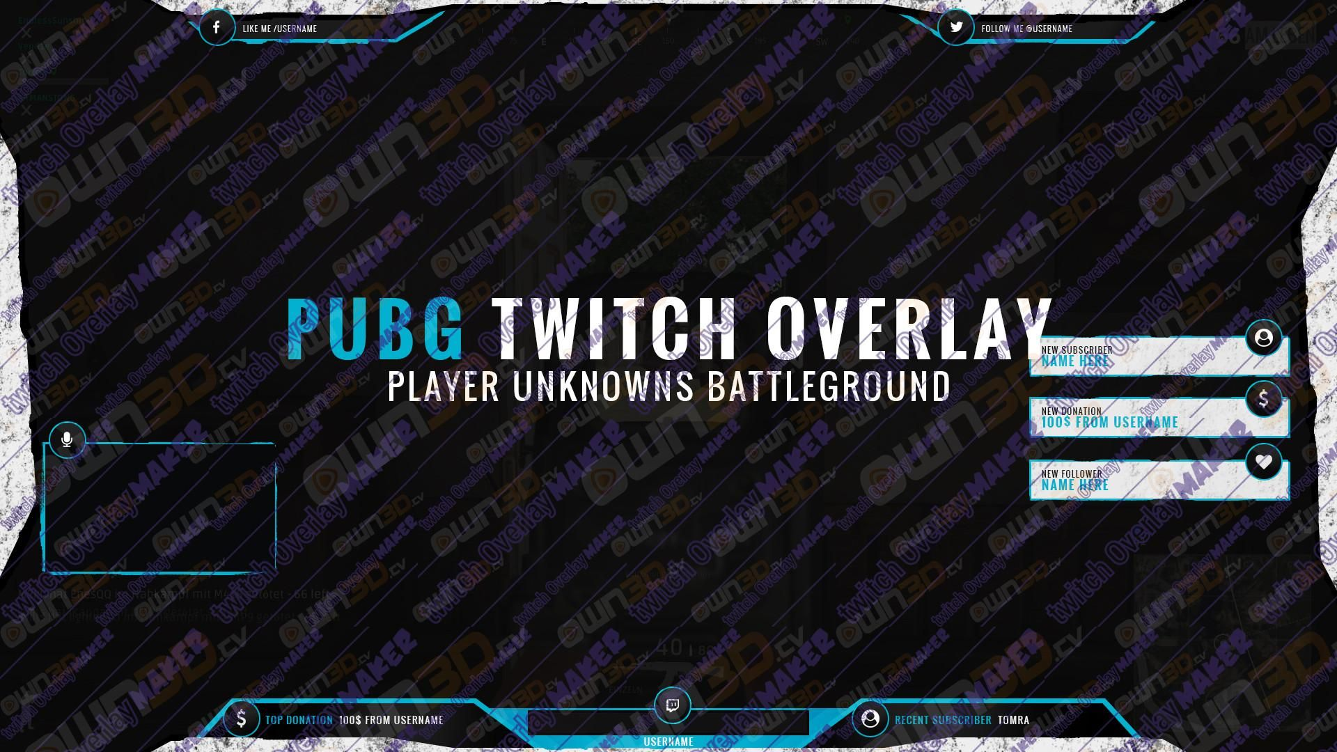 Twitch Overlay Template Royale Blue Pubg Own3d Tv 1