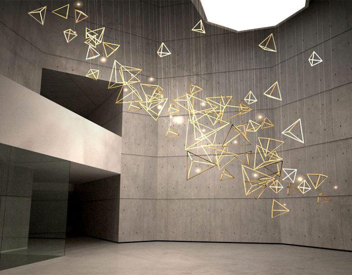 Sculptural Light Installation For Public Areas Lamp