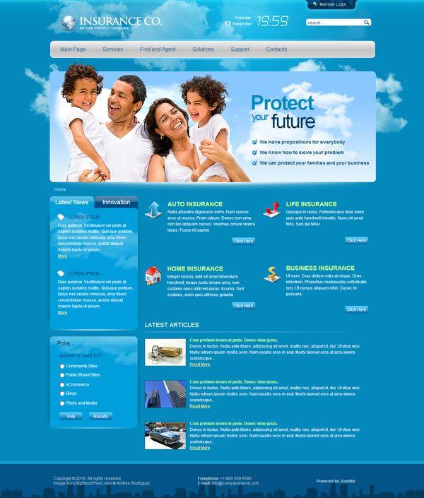insurance company template  Insurance Company Joomla Template by Dynamic Template | Joomla ...