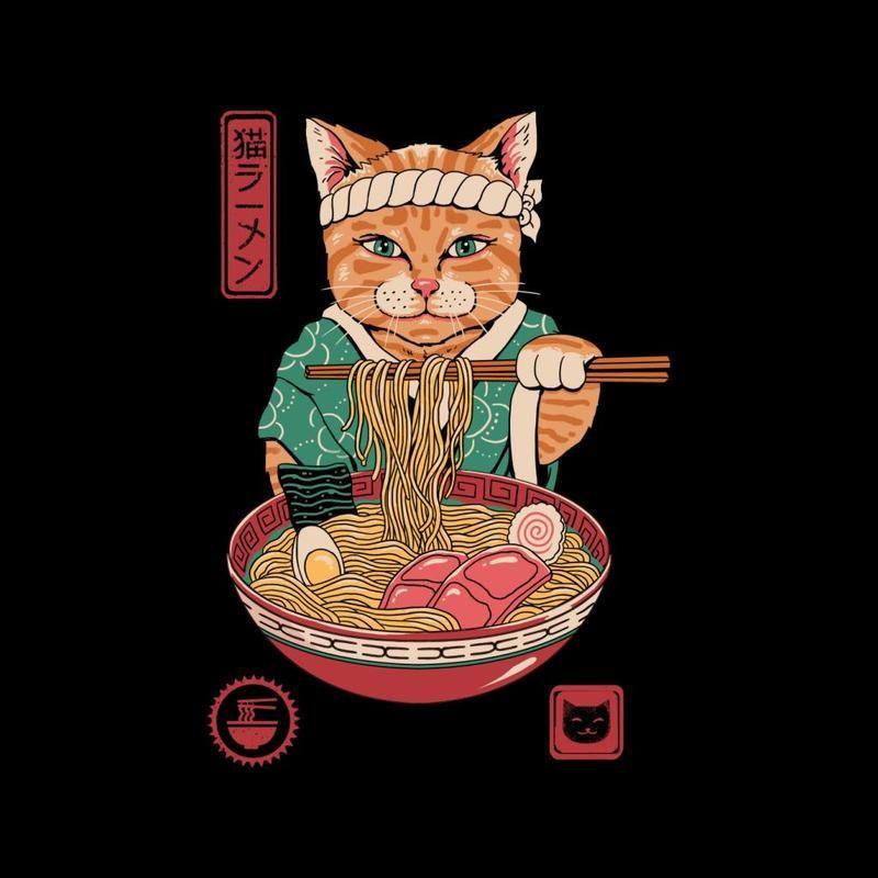 Japanese Maneki Neko Lucky Charm Ramen Cat Ramen Men's T