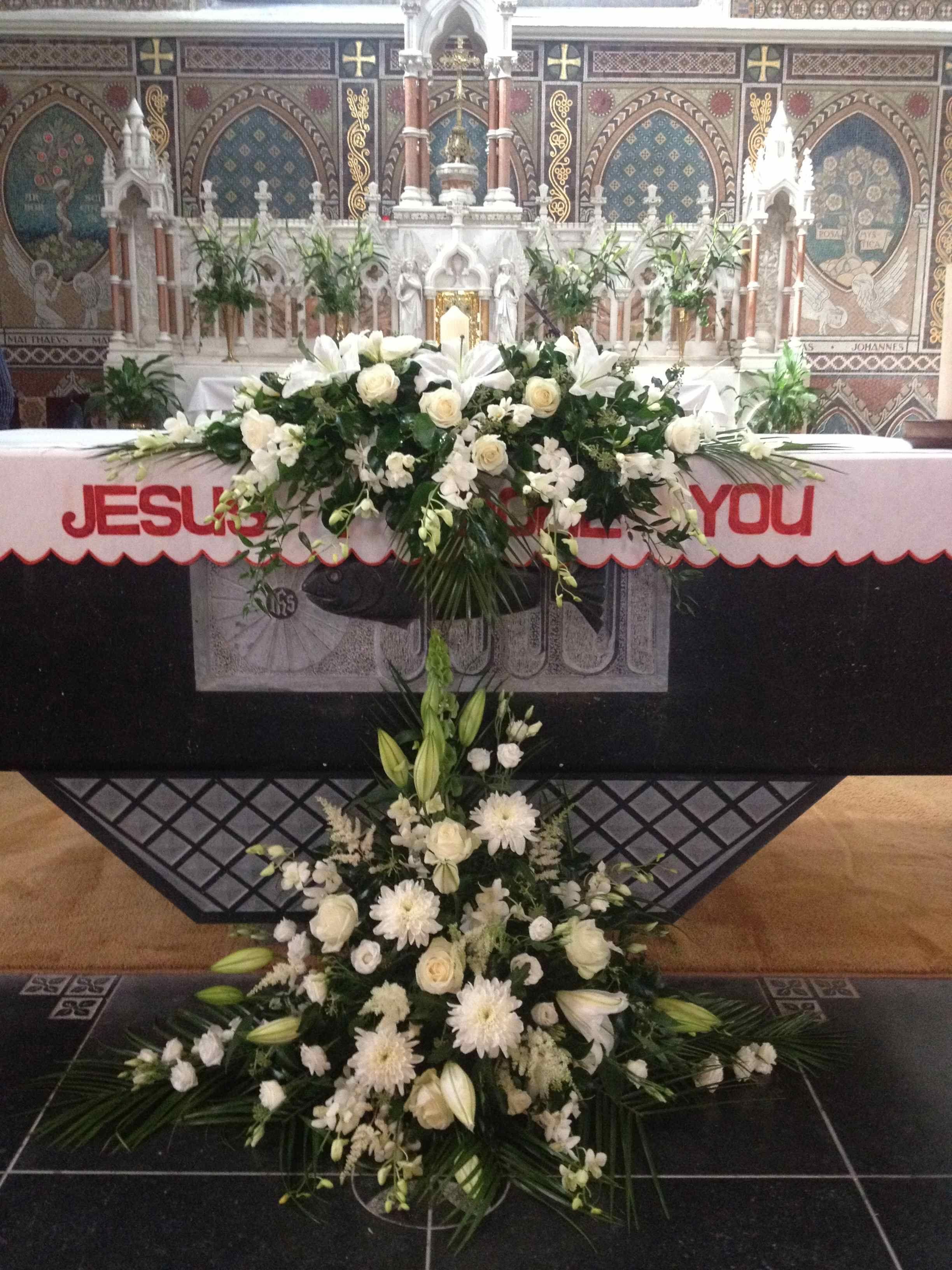 unity candle arrangement altar flower arrangement Unity