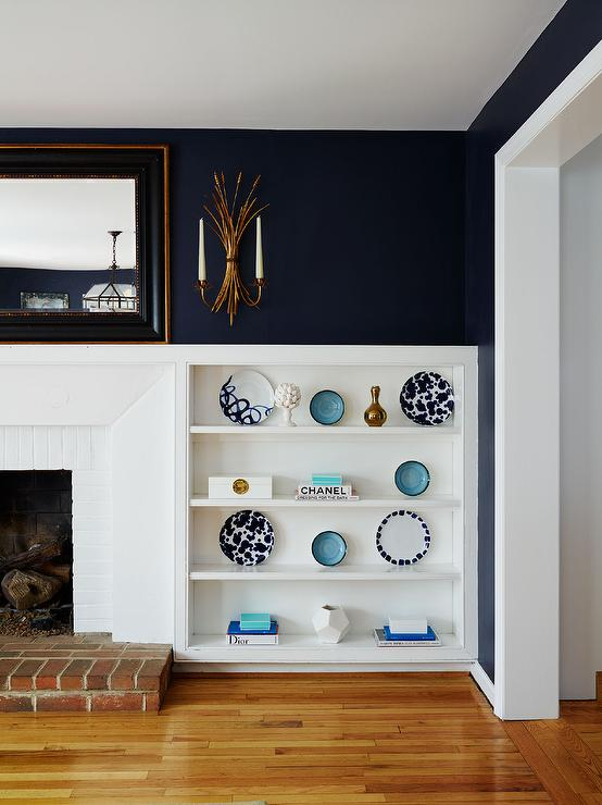 White Fireplace Black Wall Google Search Accent Walls In Living Room Black Dining Room Navy Accent Walls