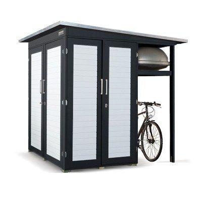 Gartenhaus mit Überdachung für Fahrräder! Super cool