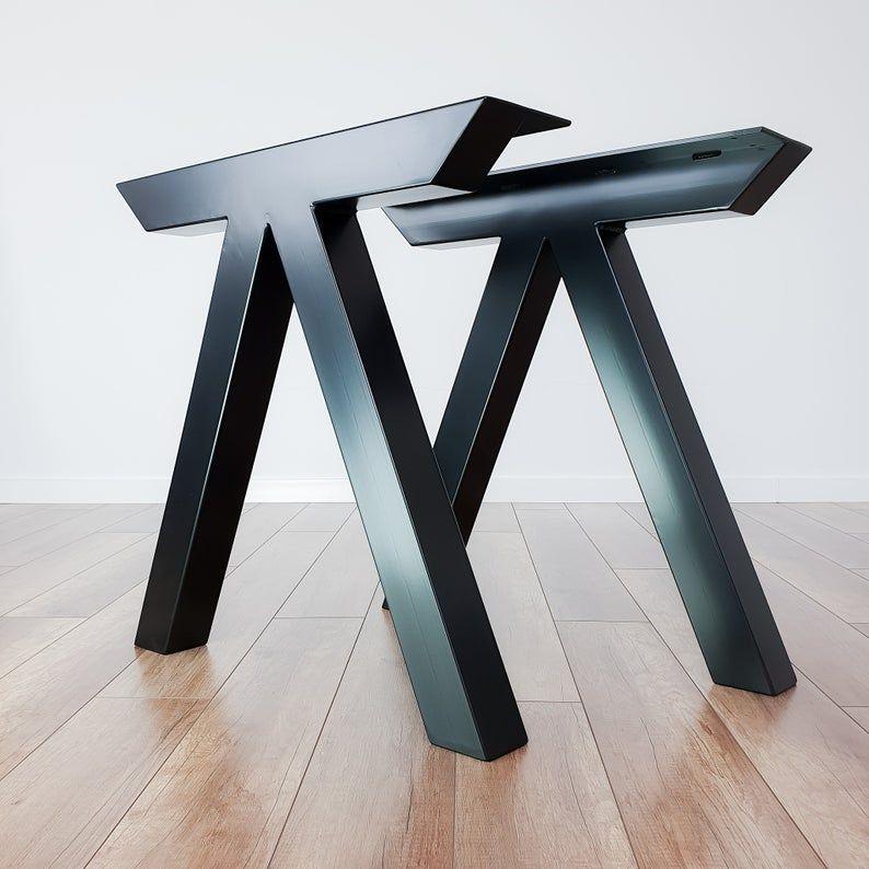 Metal Dining Table Legs Industrial Kitchen Steel Table Legs Etsy Metal Dining Table Dining Table Legs Steel Table