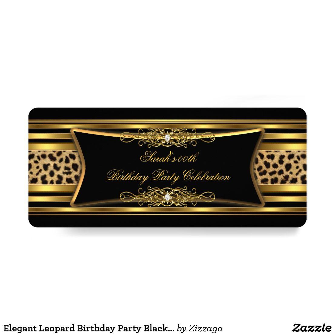 Elegant Leopard Birthday Party Black Gold Invitation   Zazzle.com   Leopard birthday  parties, Leopard birthday, Elegant birthday party