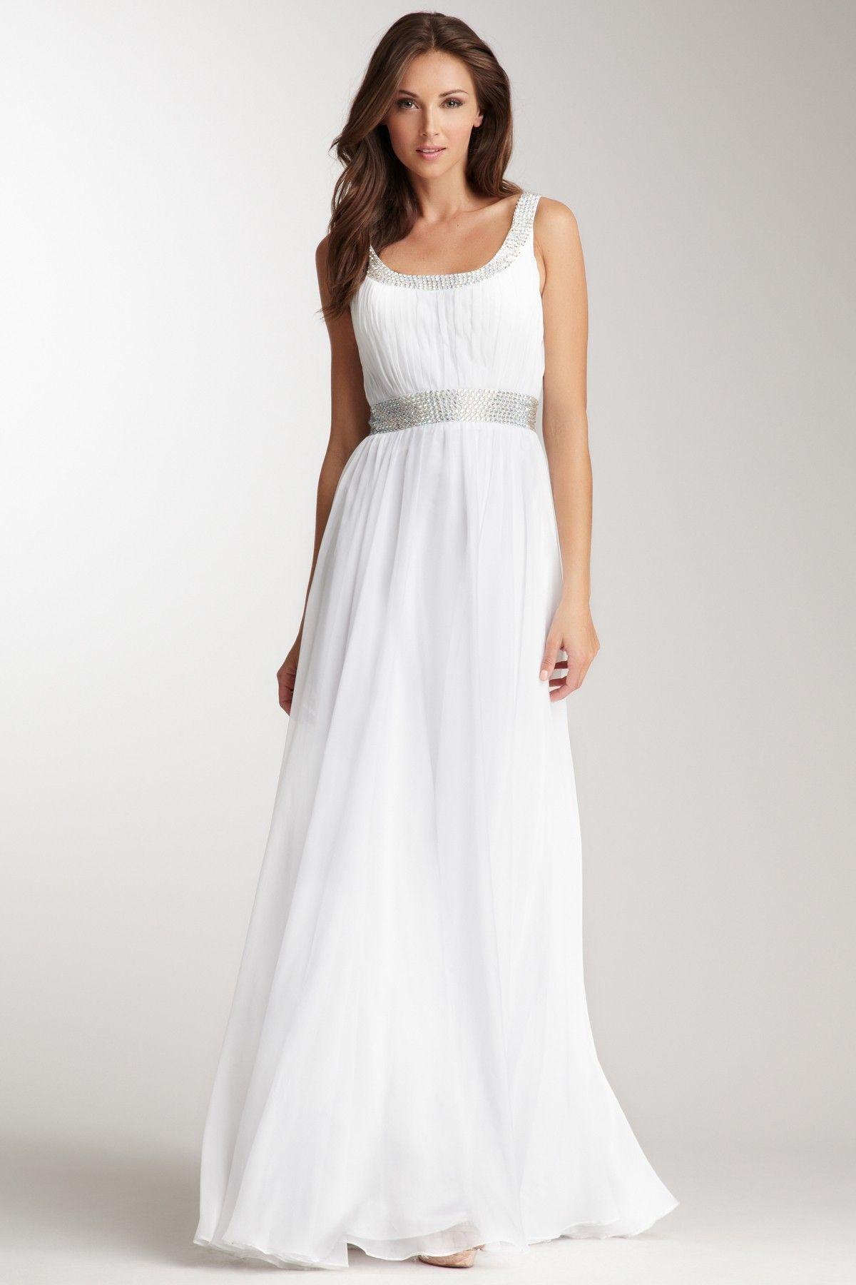 Rhinestone Encrusted Gown <3 #white