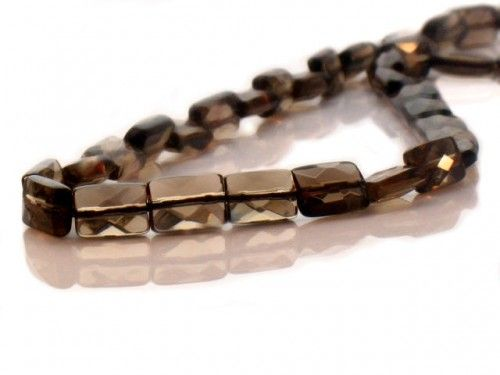 SMOKY QUARTZ FACETED RECTANGLE BEADS. AA QUALITY. 8X12MM.