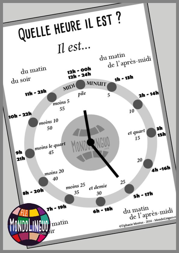 Horloges Pour Decouvrir L 39 Heure En Classe De Fle X2f Francais Ressource Imprimable A1 X2f A2 Apprendre Le Francais Enseignement Du Francais L Heure