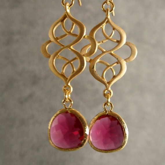 Fuschia Glass Oriental Gold Bridesmaid Earrings, Gold