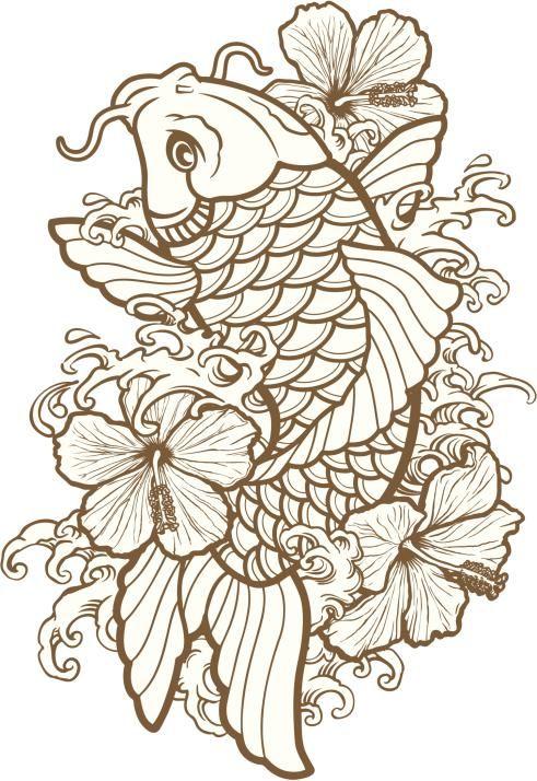 Plantillas para tatuajes del pez koi | Pez koi, Ser original y Koi