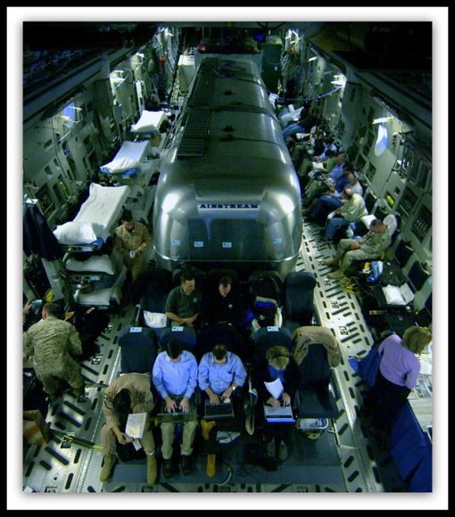 Have you ever seen an Airstream fly? Airborne Airstream Silver Bullet command and control module (CCM).