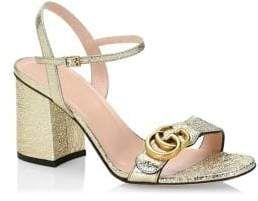 e75176f2c63b9 Gucci Metallic-Leather Block Heel Sandals