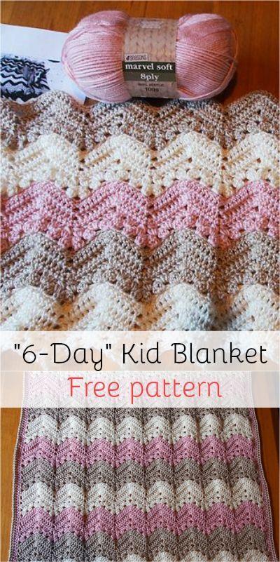 6-Day Kid Blanket - Free pattern! | afghans | Pinterest ...