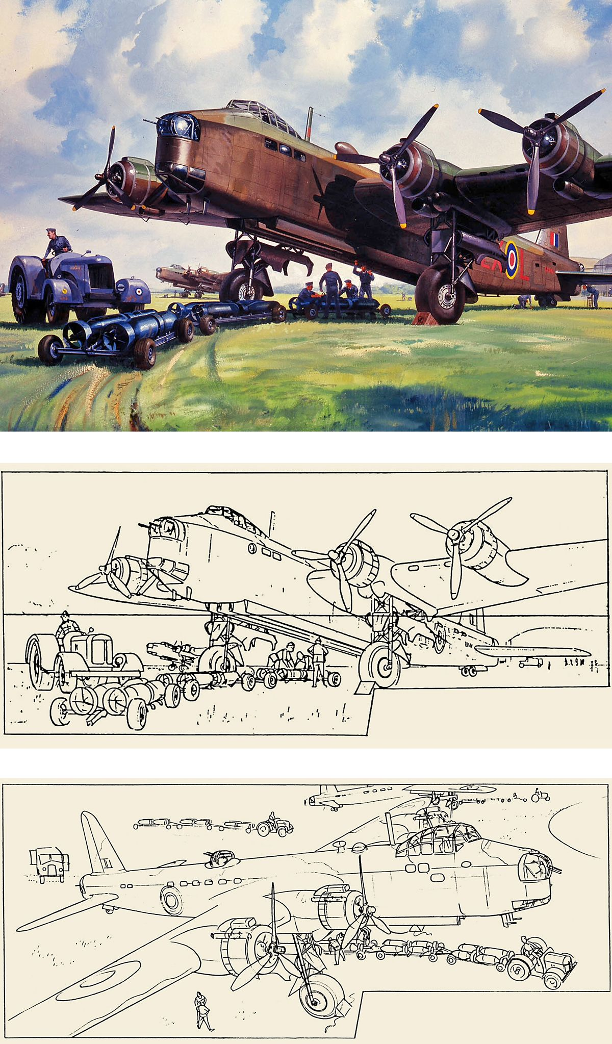 Short Stirling, his sketching and an alternative rejected version.