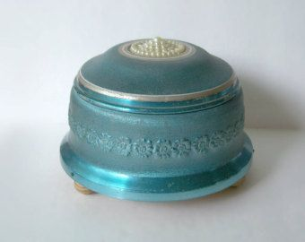 Vintage Powder Music Box • Aluminum • Blue • Emperor Waltz Johann Strauss • Cody Musical Creations