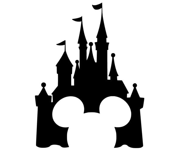 Michey With Castle 1024x1024 Png 608 555 Disney Silhouetten Disney Diy Schablonen