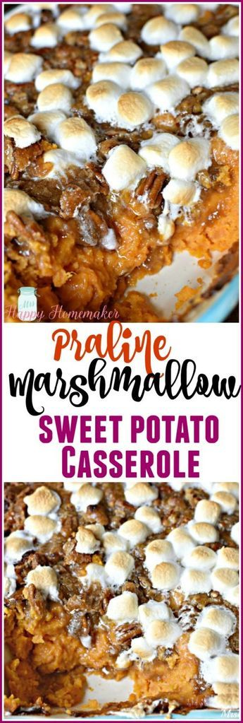 Praline Marshmallow Sweet Potato Casserole - Mrs Happy Homemaker