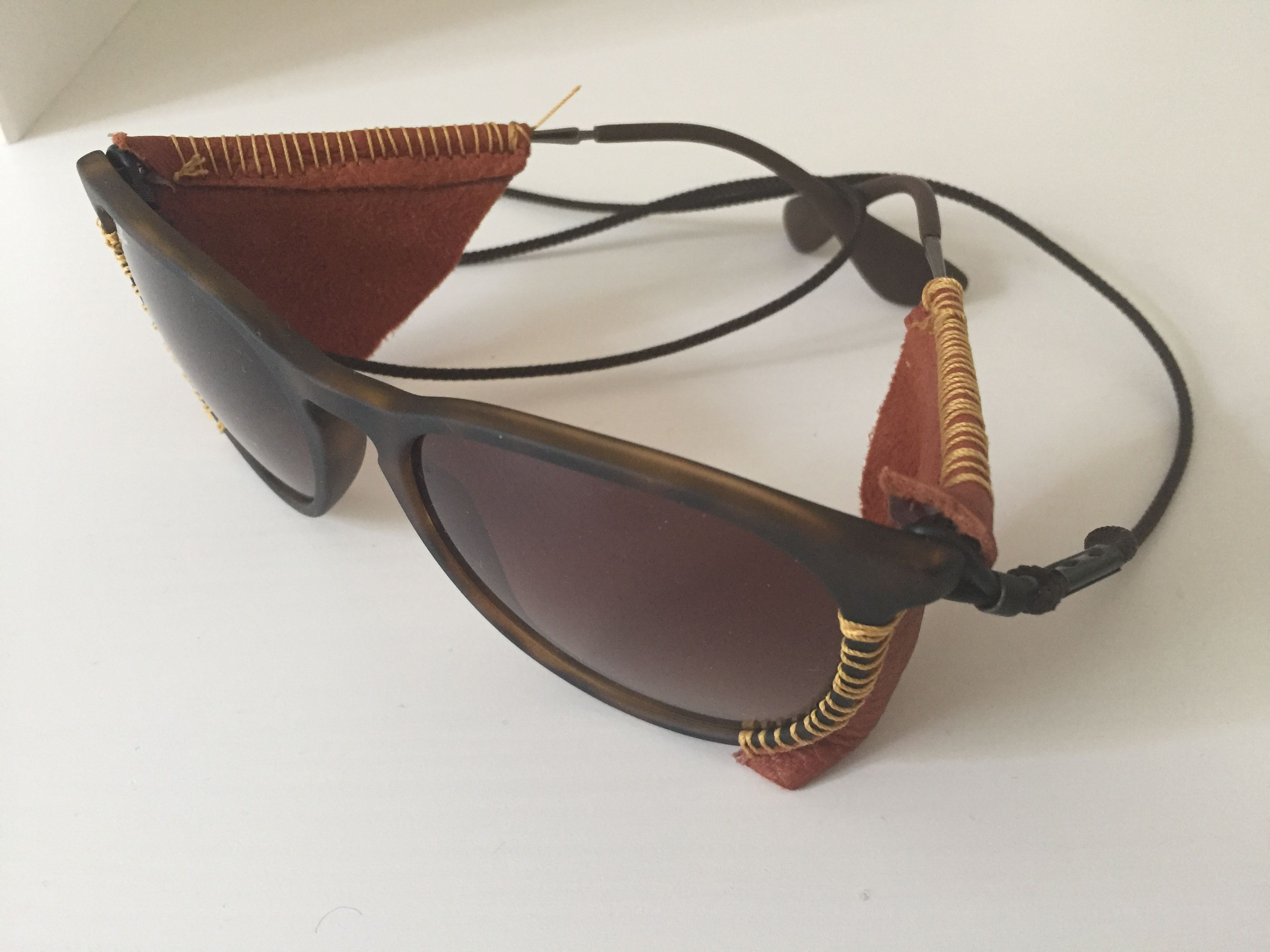 46cca975e01a5 Home made DIY leather sun shields, with a pair of old rayban sunglasses.  Beware