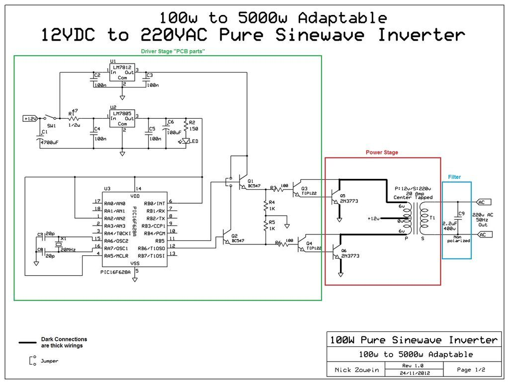Adaptable 12vdc 220vac Pure Sinewave Inverter Electronics Here Is A Schematic Of Simple Series Circuit Very Based On The Microntoller Pic 16f628a Dont Freak Out No It Not Difficult To Use