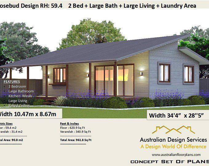 2 Bedroom Small Home Design Livinig Area 636 Sq Feet Or 59 9 Image 2 House Plans Australia Small Cottage House Plans Small House Design