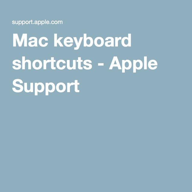 Mac keyboard shortcuts - Apple Support