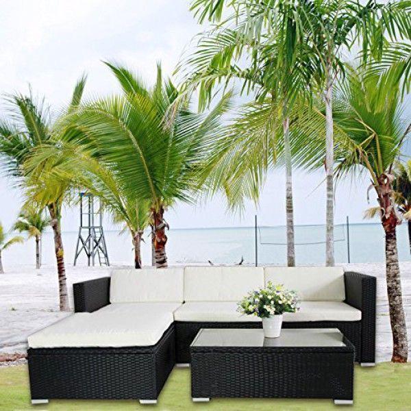 6034) Poly Rattan Lounge Schwarz Gartenset Sofa Garnitur