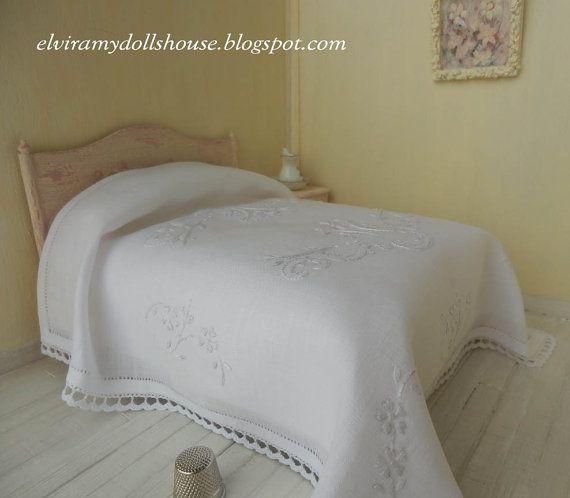 Classic Italian Embroidered Linen Bedspread, Dollhouse Miniature Handmade,1:12 Scale Dolls House