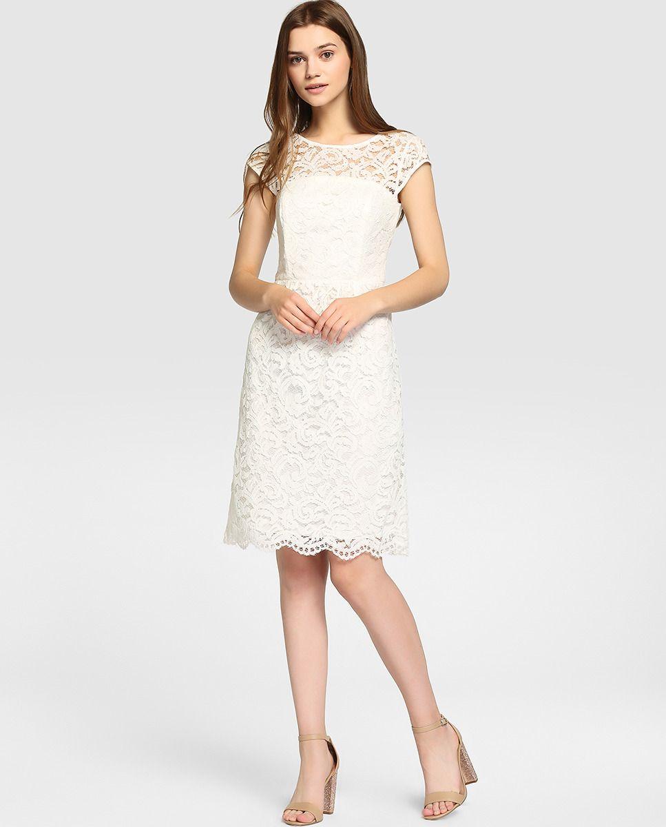 cb4f70fe0f Vestido corto de mujer Esprit de encaje en color blanco