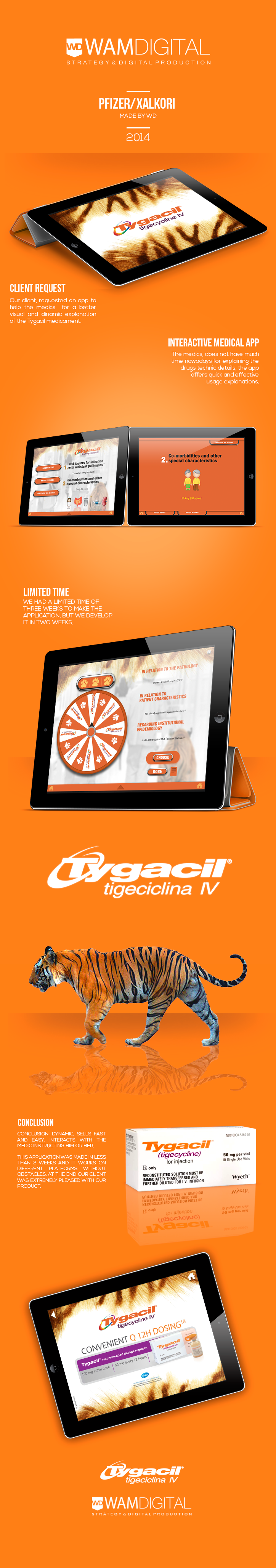 Our client, requested an app to help the medics for a better visual and dinamic explanation of the Tygacil medicament.