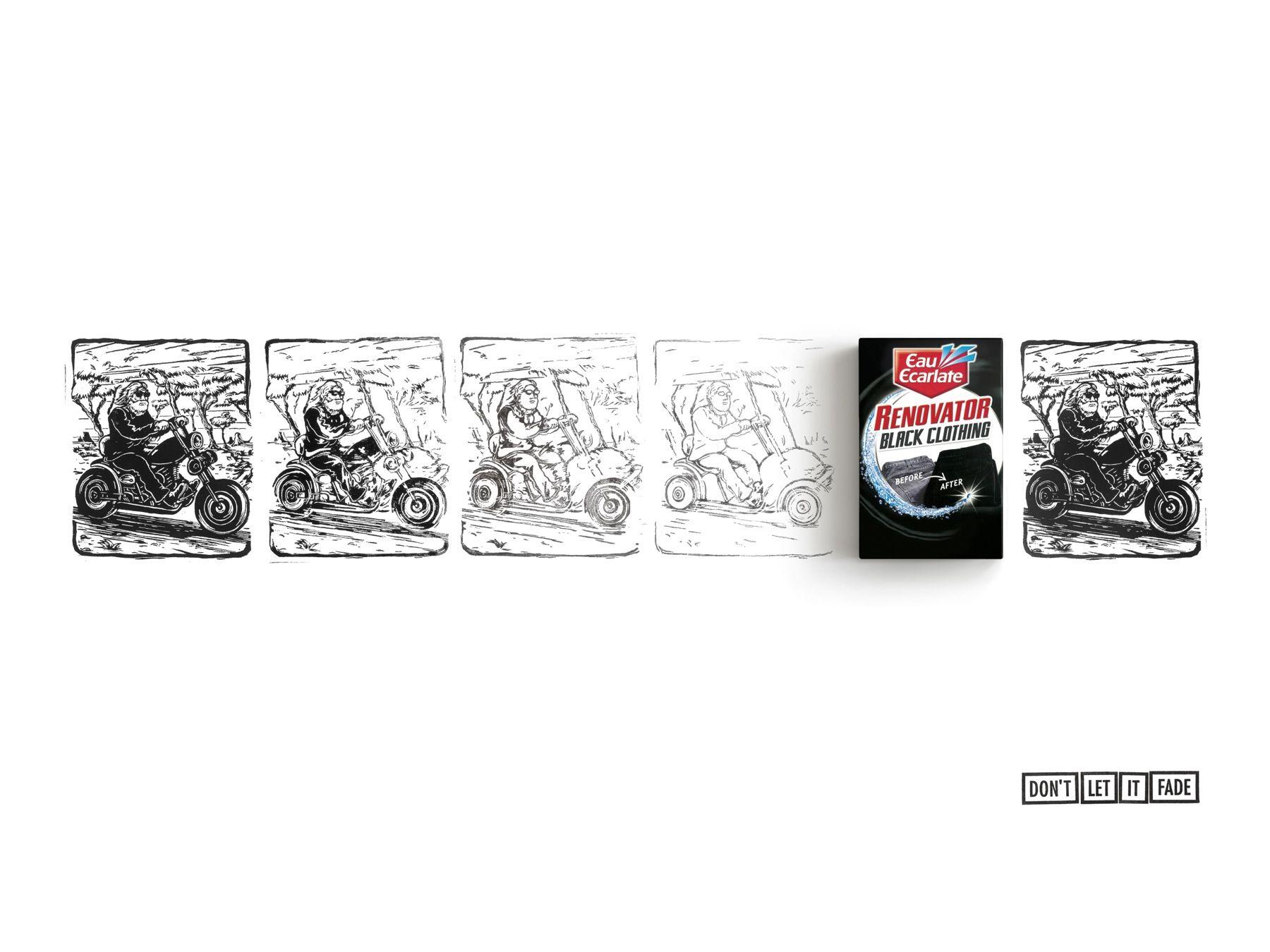Eau Ecarlate Renovator Black Clothing: Biker  Don't let it fade. Advertising Agency: Herezie, Paris, France