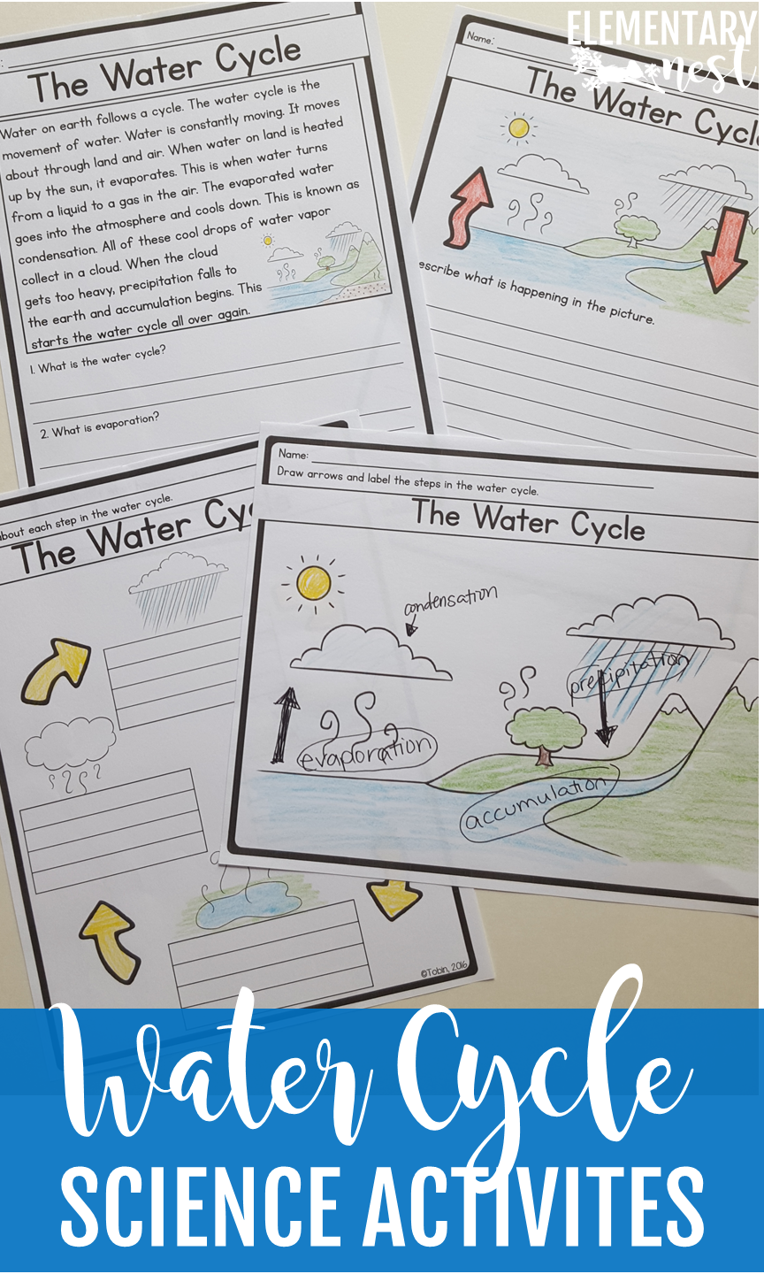 Water Cycle activities for first grade and second grade science- reading  comprehension activit…   Science reading comprehension [ 1440 x 864 Pixel ]