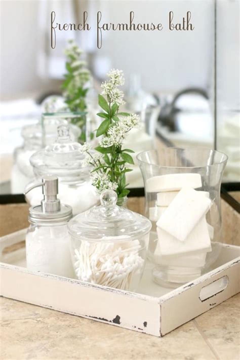 40+ Beautiful Farmhouse Style Tray Decor Ideas #bathroomvanitydecor