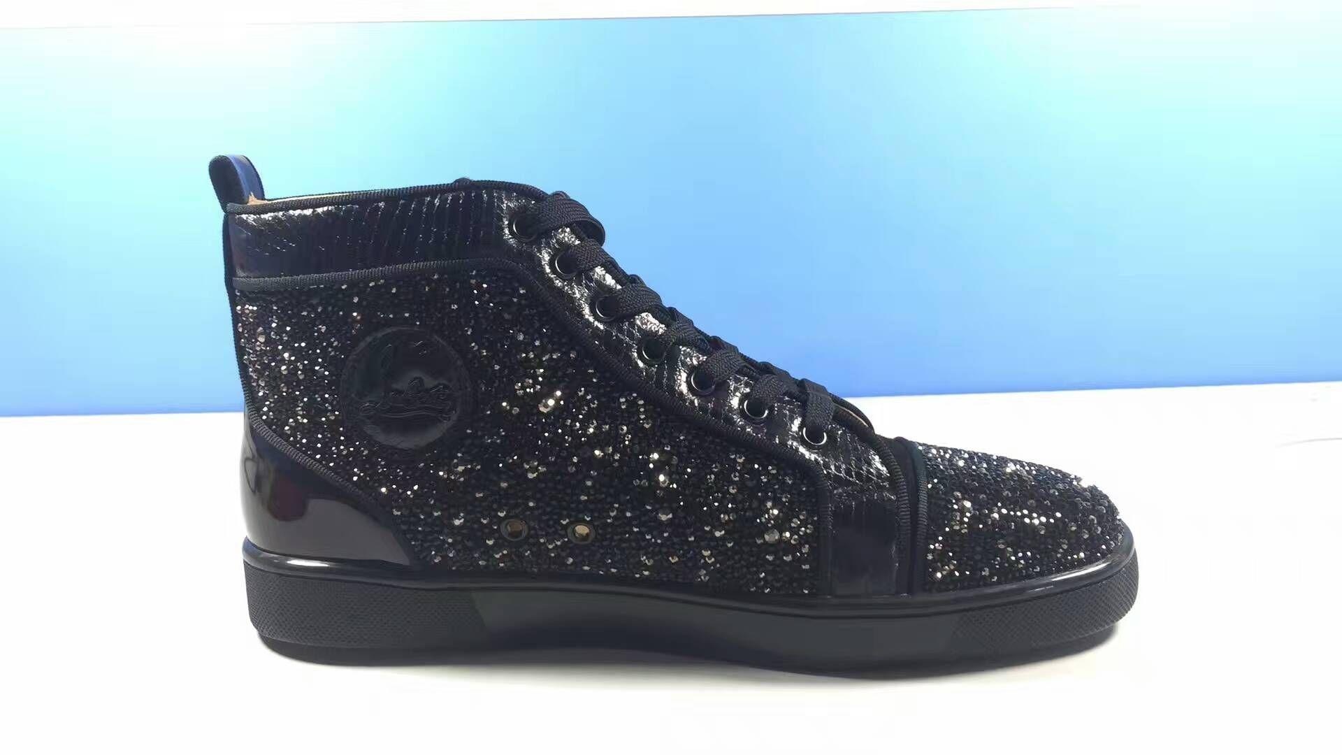 7b03fc0b714 Christian Louboutin Rantus Glitter Black High Sneakers | shoes i ...