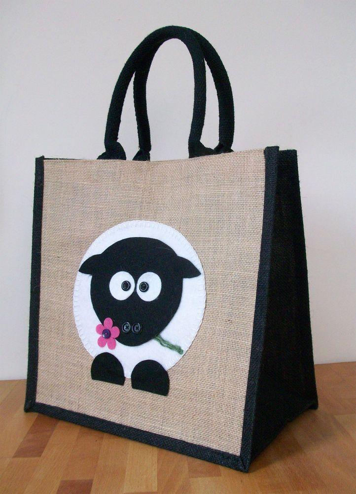 Owl design Medium//Light Blue NEW Jute Hessian Shopping Bag