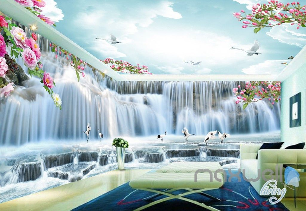 Best 3D Peony Flower Large Waterfall Entire Living Room Bedroom 400 x 300