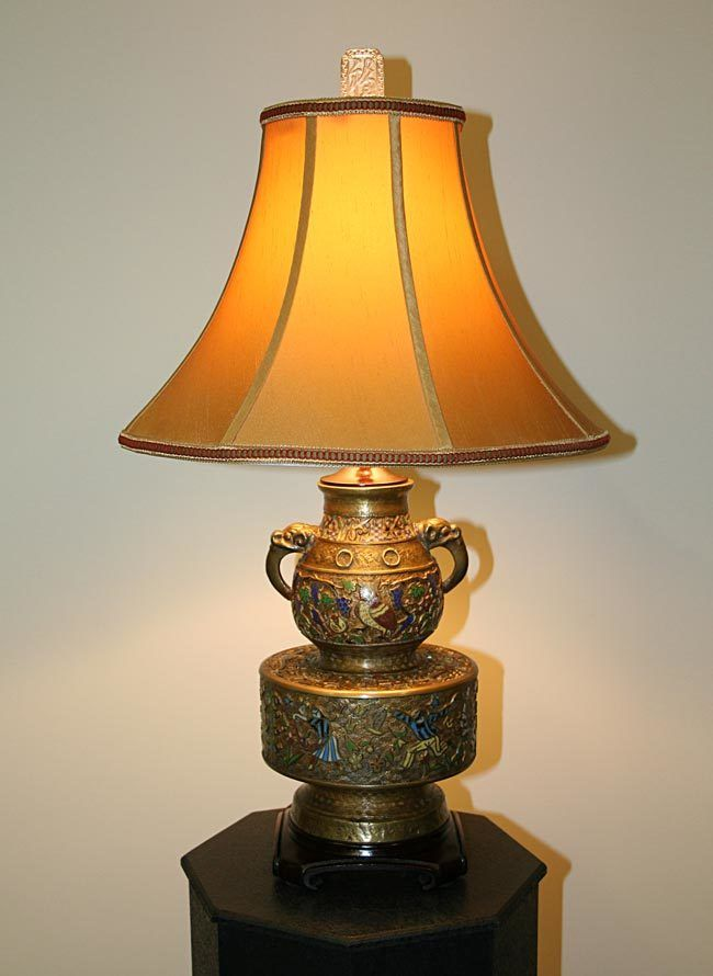 Beautiful Champleve Table Lamp With Elephant Handles Whimsical Domestic Scenes Circa 19th Century Base Decorative Table Lamps Elephant Table Lamp Table Lamp