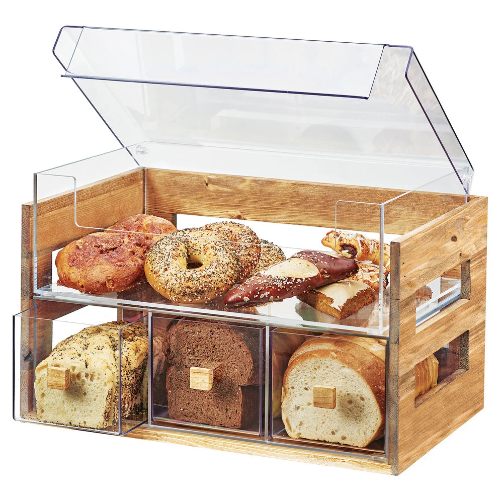 Cal Mil 3624 99 Madera Rustic Pine 2 Tier Bread Display Case 20 1 8 X 12 3 4 X 13 1 8 In 2020 Bread Display Bakery Display Pastry Display