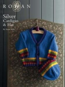 Silver Cardigan and Hat Knit with Rowan Pure Wool Worsted.  Pattern Sized 3 - 18 months