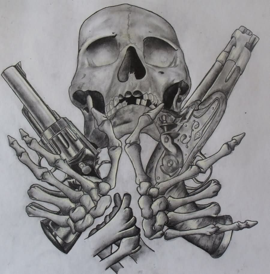 Skulls Tattoo Design Wallpaper: Pistol Tattoos Designs And Ideas : Page 10