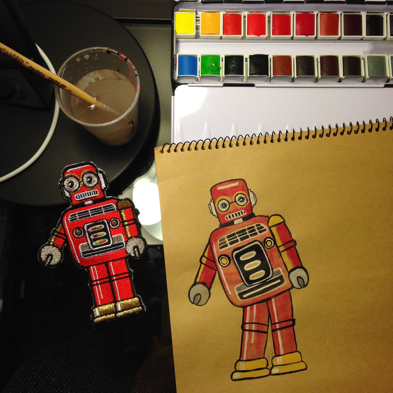#watercolor #robot #diy #sennelier #fabercastell #winsorandnewton #kraftpaper Myriam Jacquet