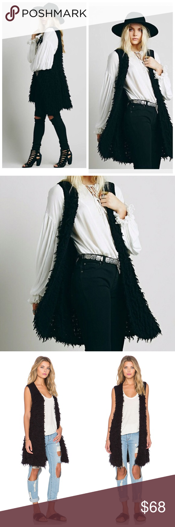 "NWT Free People Rolling Stones Vest Cardigan Brand: Free People  Condition: brand new with tags attached Size: large- this can fit all sizes depending on your desired look.  Style:sleeveless fur-like long vest Cardigan  Length: 33""  Armpit-armpit: 18.5""  Sleeves: sleeveless  Color: black  Material:cotton Care: hand wash Free People Sweaters Cardigans"