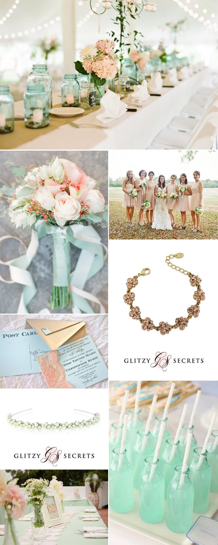 Summer Mint and Peach Wedding Ideas | Peach weddings, Peach and Weddings