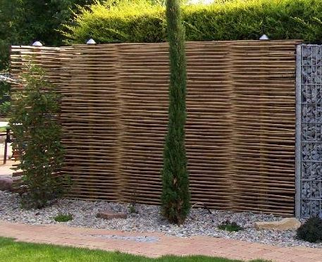 Bambussichtschutz mit Gabionen kombiniert Gabionen